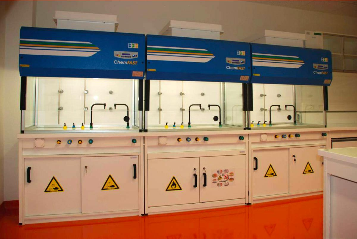 Fume cupboards with electrical sash and safety cabinets